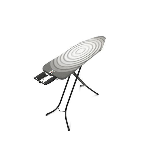 Strykebrett Stl B med Dampstrykejernsholder, svart ramme 22mm 124x38 cm Titan Oval