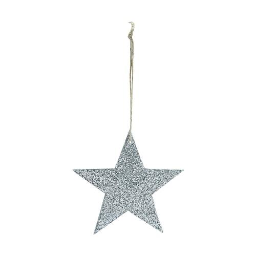 Dekoration Glitter Ø 8 cm - Sølv