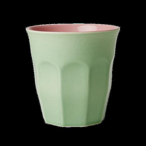 Iso keraaminen kuppi, kaksivärinen vihreä/vaaleanpunainen