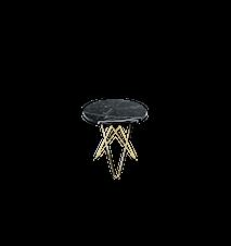 Tall Mini O Table Svart Marmor med Mässingram Ø50