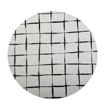 Grytunderlägg Björklaminat, rutig, svart, rund 21cm diameter
