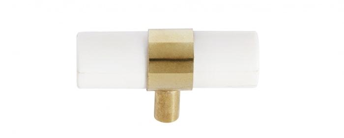 KNOB/HOOK , white bone/brass, small