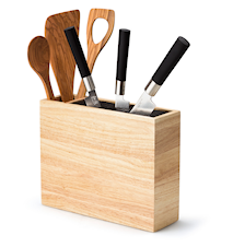 Knivskuff av bambus med ekstra utstyrslomme