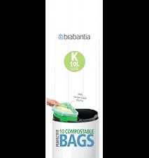 Miljøvenlig affaldspose K, 10Ltr [10 poser/rulle] Green / White