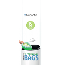 Miljövänlig avfallspåse K, 10Ltr [10 påsar/rulle] Green / White