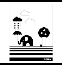 Elephant & apple poster – Svart/vit