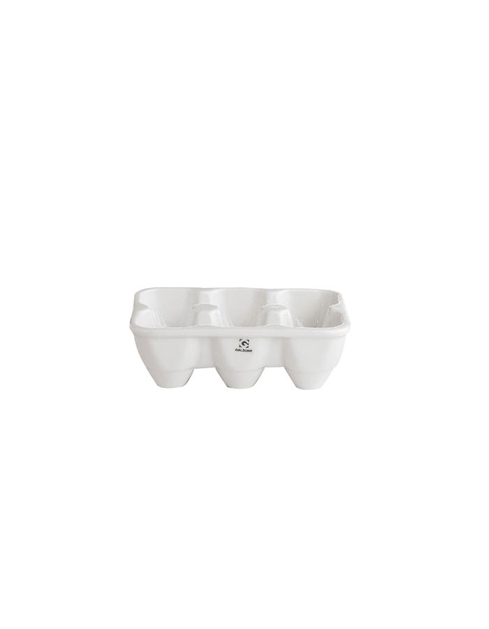 Æggebakke - Porcelæn - Hvid - H 5,0cm - L 16,0cm - B 10,0cm - Stk.