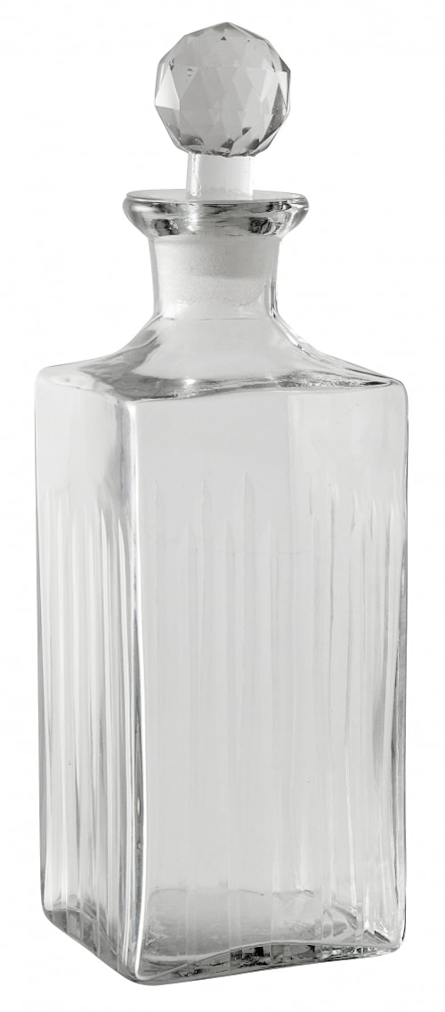 Decanter, stripes, clear glass