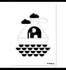 Elephant & boat poster – Svart/vit