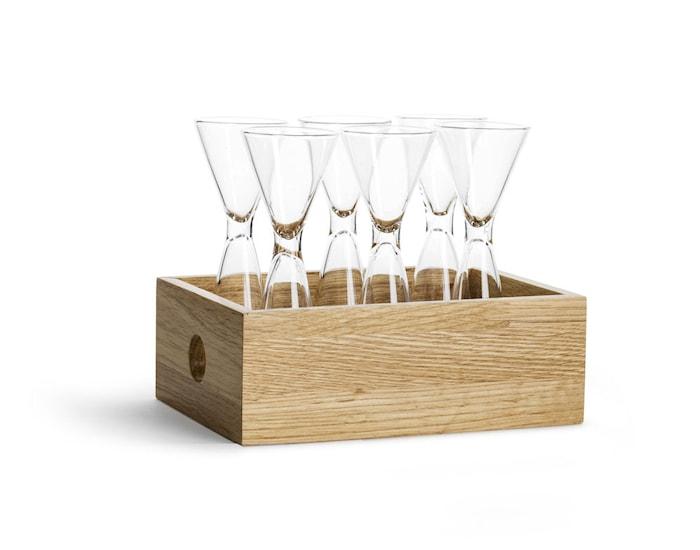 Snapseglas 6 stk i opbevaringskasse