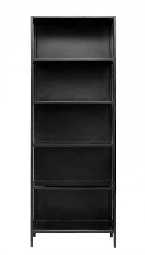 Black cabinet, glass in sides, no doors
