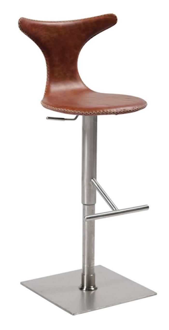 Dolphin barstol – Lysebrunt lær/stål