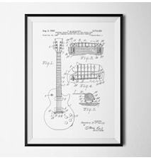 Patent guitar vit poster