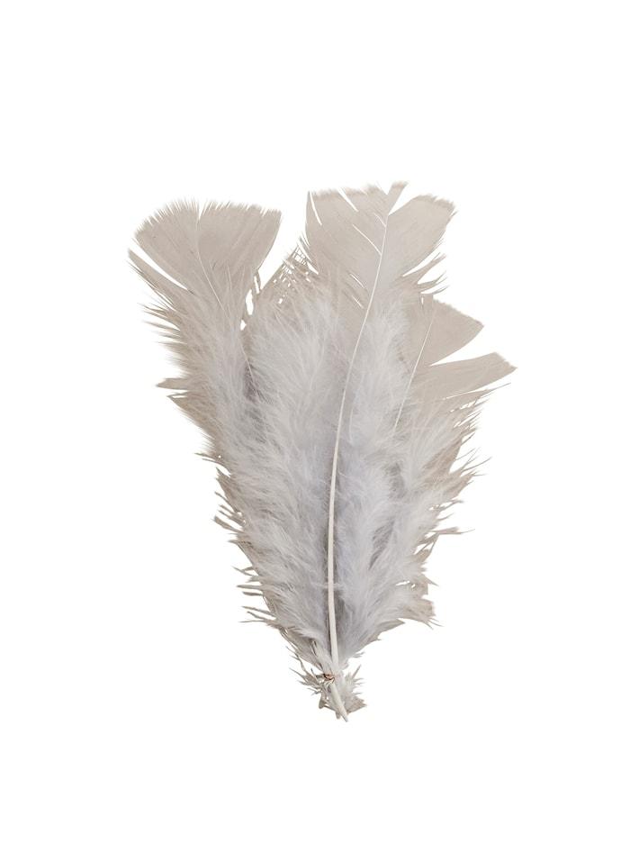 Fjäderdekoration 16 cm Grå