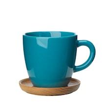 Höganäs Keramik Kaffekrus + træunderkop 33 cl havgrøn blank