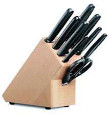 Knivblokk 9 deler med svarte nylonhåndtak