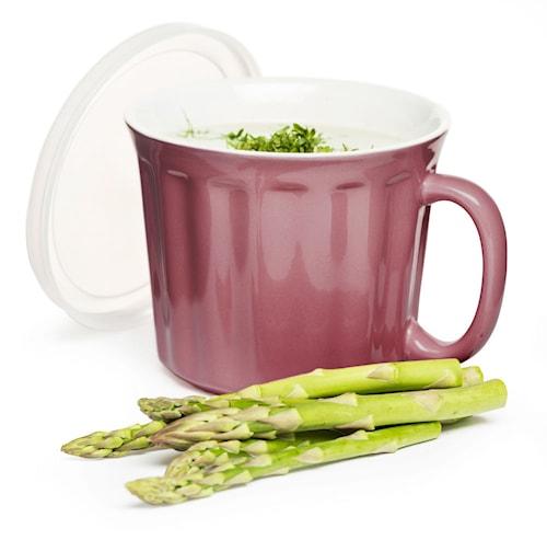 Suppekrus med låg, lyserød
