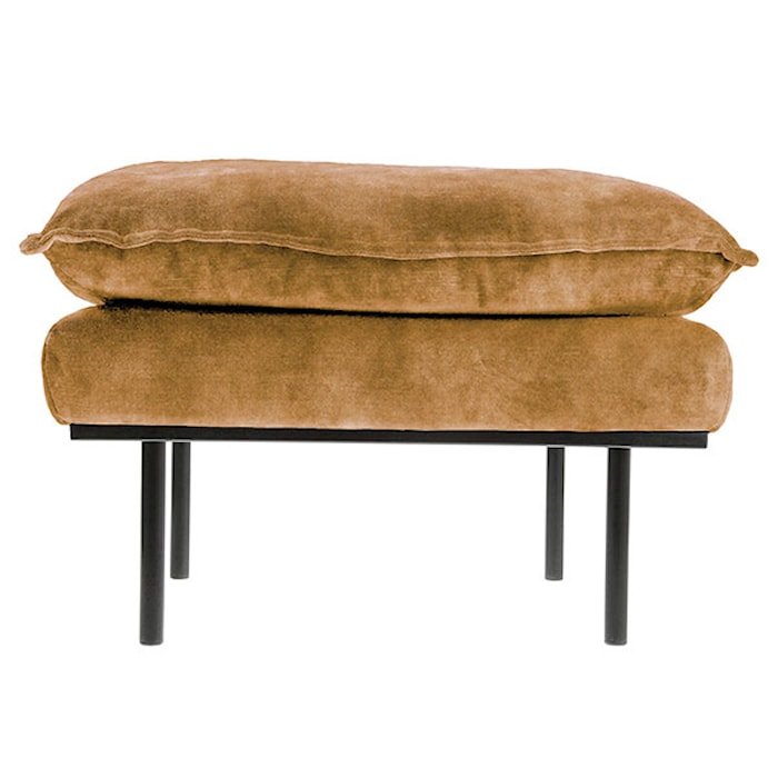 Retro Sofa Fløjl Hocker Sennepsgul