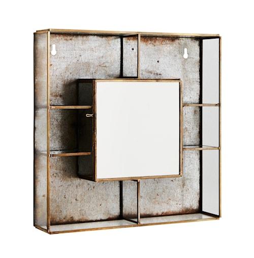 Vägghylla med spegel 26x6x26 cm - Mässing