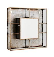 vegghylle med speil 26x6x26 cm - Messing