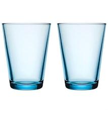 Kartio Lyseblå Glass 40 cl 2-pakk