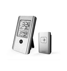 Trådlös vädertermometer Ute/inne Aluminium