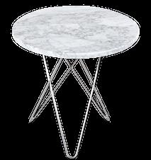 Tall Mini O Table Matt Vit Marmor Rostfri Stålram Ø50