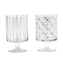 IBI Glas med silvermönster & fot