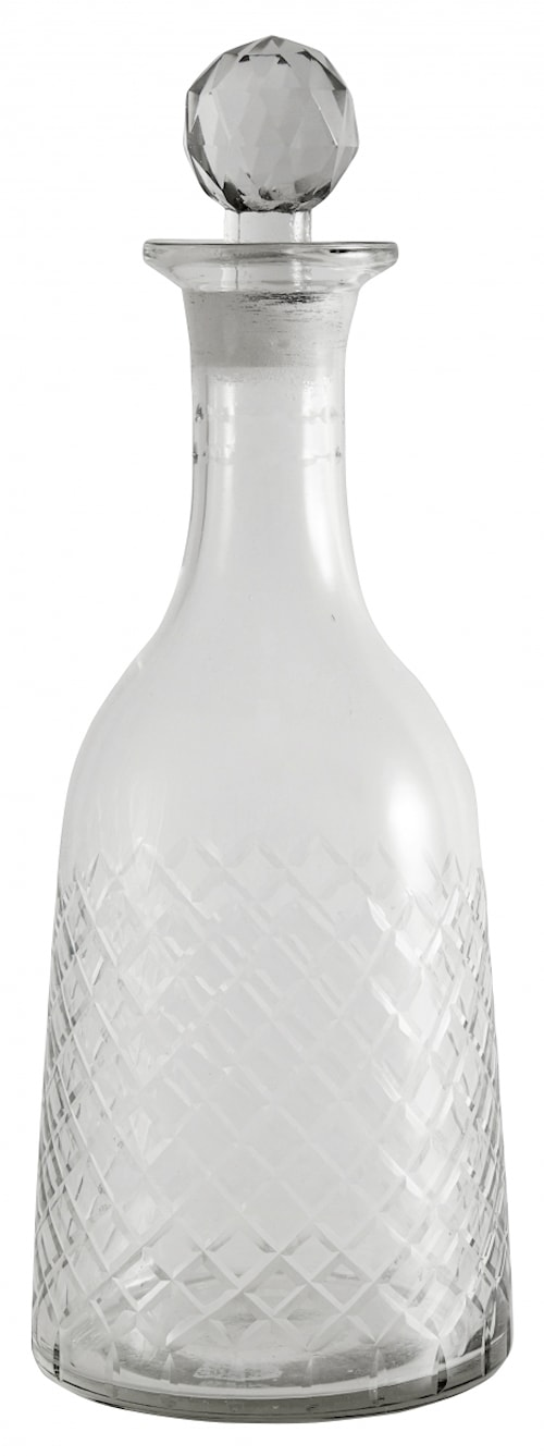 Decanter, round, harlequin, clear glass