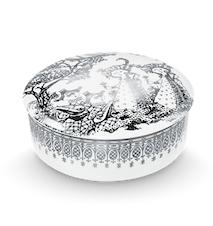 Dåse med låg, Mascarade, sølv, Ø16 cm