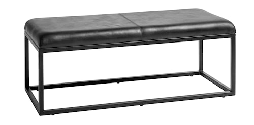 Benk i lær 123 cm - Svart