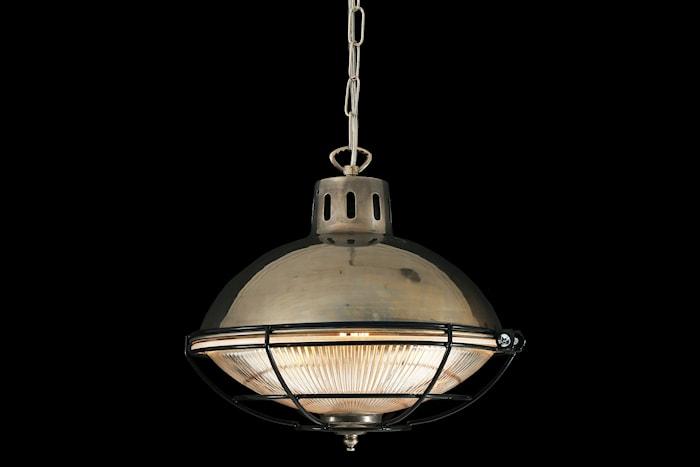 Marlow cage industrial taglampe – Antique sølv