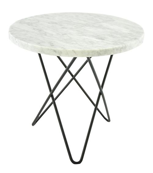 Tall Mini O-table - Vit marmor, svart stomme