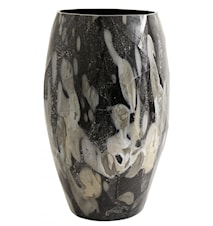 WAVE, glass vase, black/foil, large