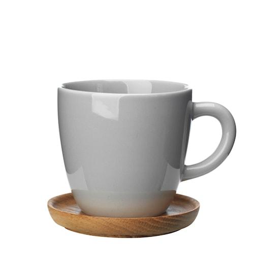 Höganäs Keramik kaffemugg 33 cl med träfat kiselgrå blank