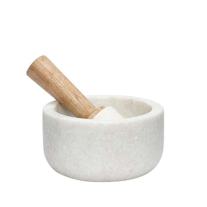 Morter marmor ø13xh8 cm - Hvid/Natur