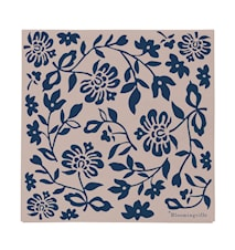 Lou Pappersservett Blå med Blommor 20st