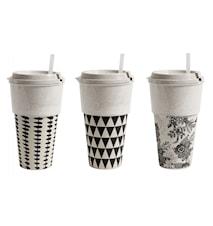 TAKE AWAY mug, black/white, 3 ass.