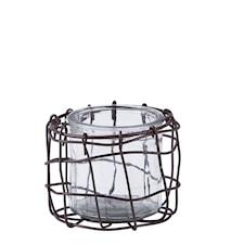 Fyrfadsstage - Glas - Metal - Klar - Brun - D 11,0cm - H 9,0cm - Stk.