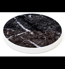 Svart marmor glasunderlägg - Vit kant
