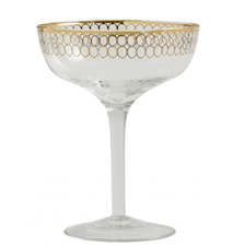Clear martini glass w. gold pattern