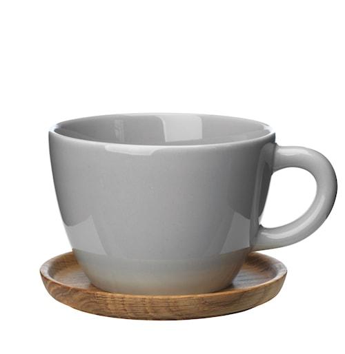 Höganäs Keramik temugg 50 cl med träfat kiselgrå blank