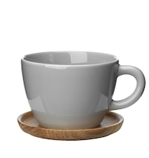 Höganäs Keramikk tekopp + trefat 50 cl grå blank