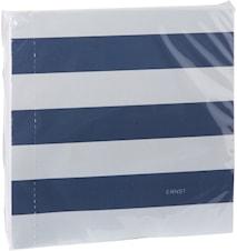 Serviet stribet, 40x40, beige/blå