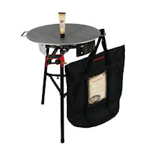 Sæt med gasbrænder, beskyttelsespose, stegefedt og stegeplade på 58 cm