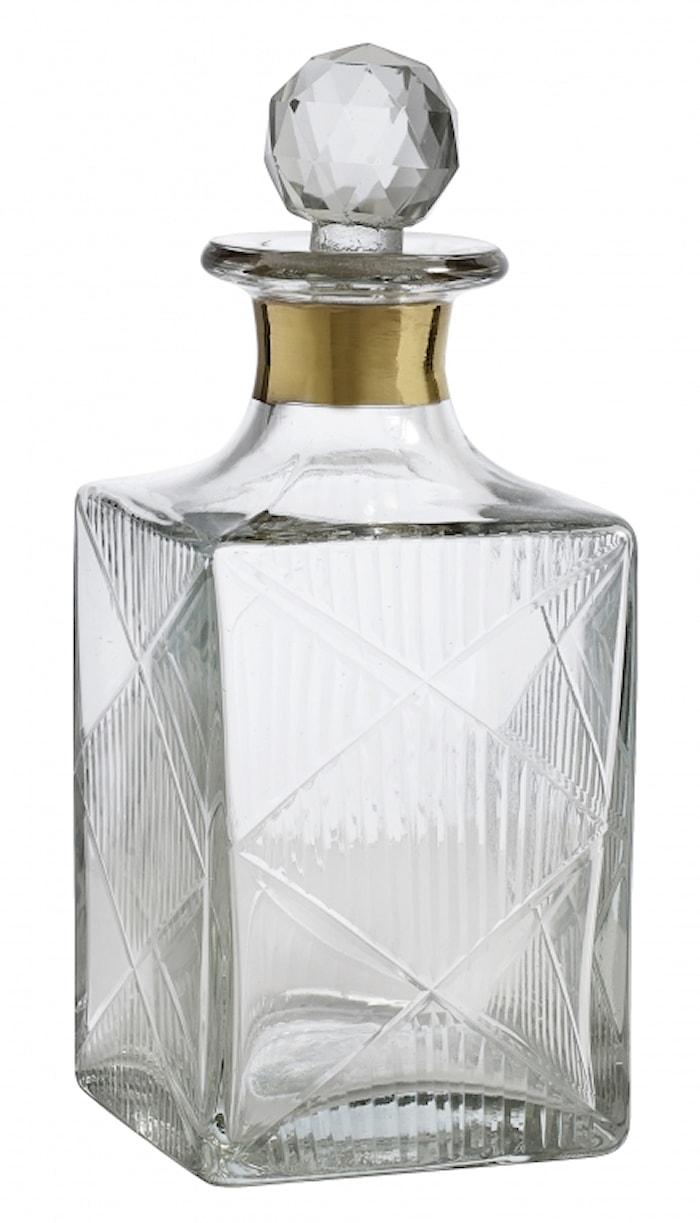 Glas decanter, lille, gold band,diamond