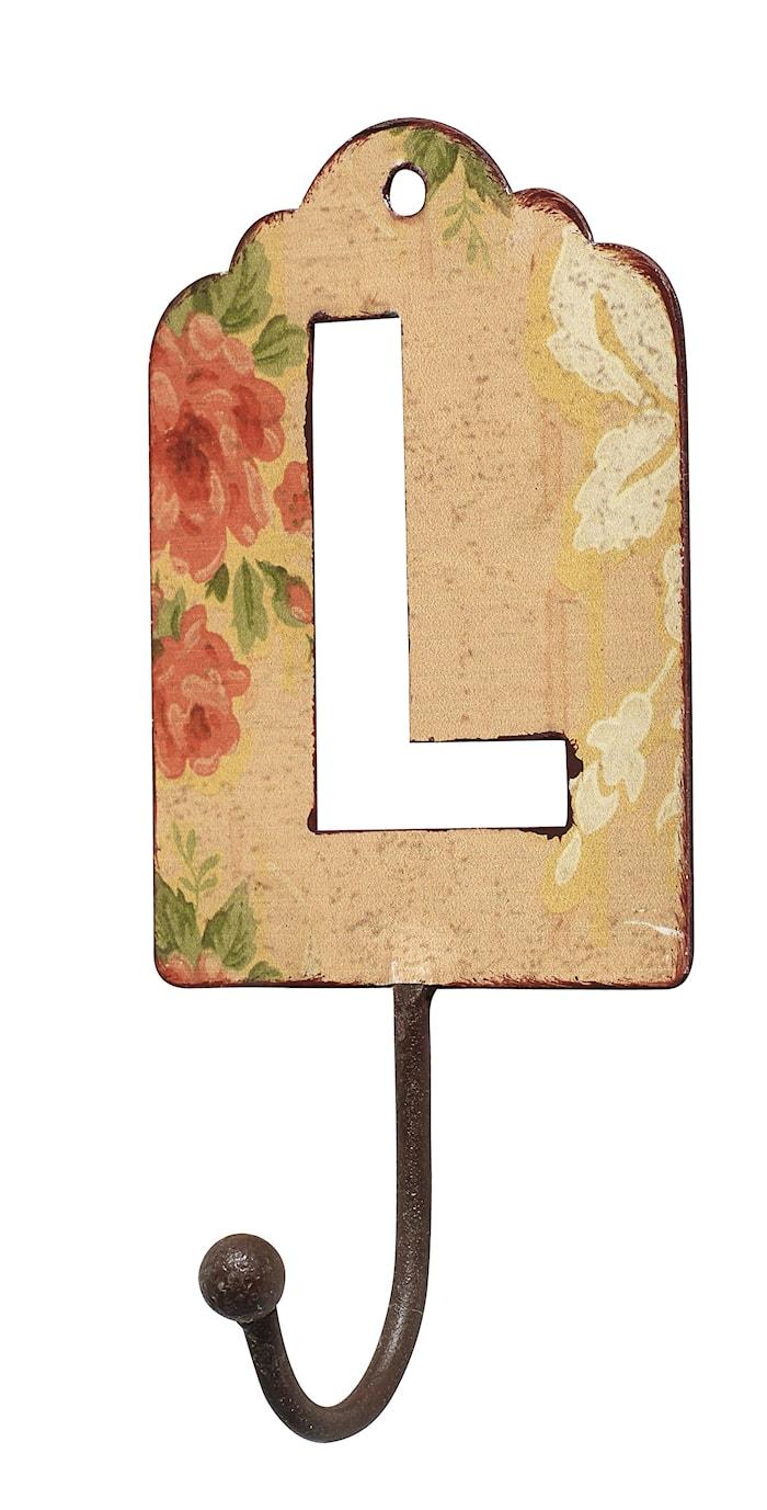 Bokstavskrok i metall 13 cm - L