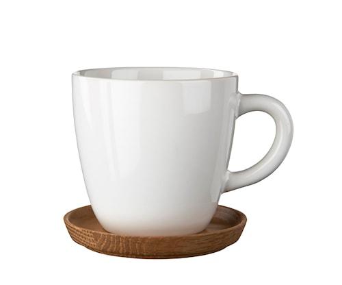 Höganäs Kaffekrus 33 cl hvid blank med træunderkop