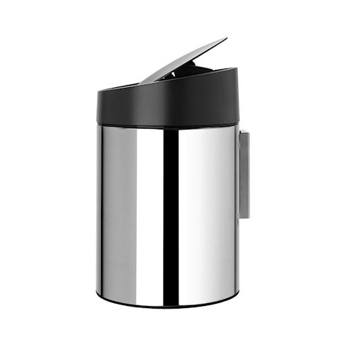 Slide Bin med svart plastlokk, plastinnerbøtte (går å montere på vegg) 5 L Blankbørstet Stål