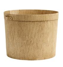 Wooden storage basket w. handle, nature